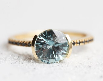 3ct pastel sapphire ring, Blue Sapphire engagement ring, Modern sapphire ring pave diamond band