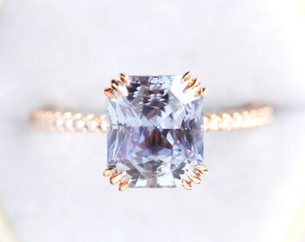 Radiant pastel lavender Sapphire engagement ring, Unique sapphire ring, Violet sapphire diamond ring