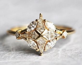 Unique diamond engagement ring, Geometric diamond cluster ring, 18k diamond ring