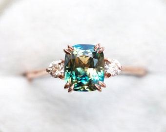 Bi Color Sapphire Ring, sapphire Cushion ring, three stone diamond ring, unique Sapphire Engagement ring