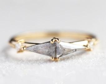 Salt and pepper diamond ring, Unique triangle diamond ring, Salt pepper engagement ring