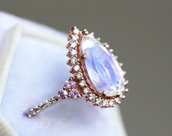 Halo pear moonstone ring, rose gold moonstone engagement ring, unique moonstone ring