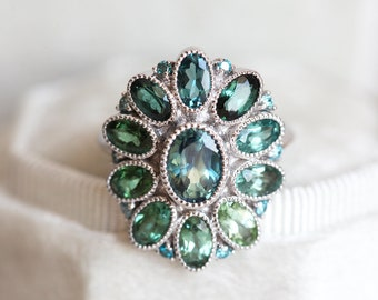 Teal Sapphire Ring with Blue Diamonds and Mint Tourmalines, Halo Ring, white gold flower ring, birthstone ring