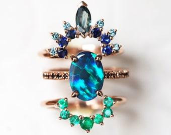 Black Opal Wedding Ring Set, Opal Engagement Ring Set, Opal Diamond Engagement Set by Minimalvs