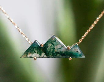 Moss Agate Mountain Necklace For Her, Unique Natural Gemstone Necklace in 14k or 18k Solid Gold
