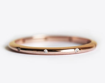 Diamond Ring, Wedding Band, Stacking Ring, 14k Gold Ring, Thin Ring, Dainty Ring, Simple Ring, Gold Ring, Eternity Band, 18k Gold Ring