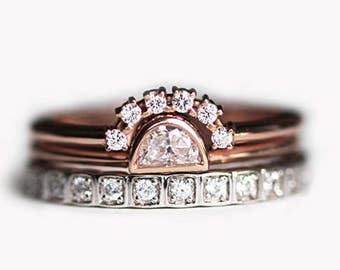 Half Moon Diamond Engagement Ring Set, 14k or 18k Solid White & Rose Gold Eternity, Crescent Solitaire and Curved Band