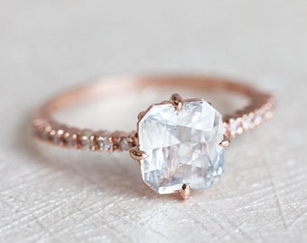 White Sapphire Ring, Rose Gold Engagement Ring, Sapphire Engagement Ring, Radiant Engagement Ring, Rose Gold Sapphire Ring, 14k rose gold