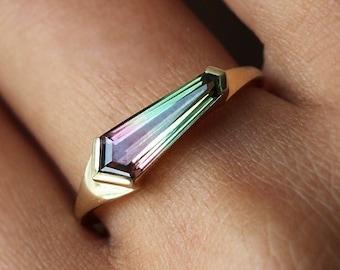 Shield Watermelon Tourmaline Ring, Unique Tourmaline engagement ring, Tourmaline baguette ring