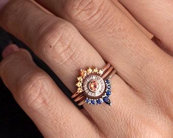 Sunset Ring Set, Unique Wedding Ring Set, Sapphire Ring Set, Sapphire Wedding Ring Set, Orange Sapphire Ring, Blue Sapphire Wedding Set