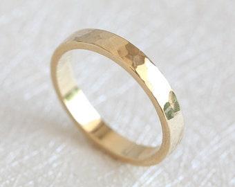 Men's Ring, Men's Wedding Band, Yellow Gold Mens Ring, Hammered Wedding Band, Rough Men's Band, 18k Gold Men's Ring, Band for Him