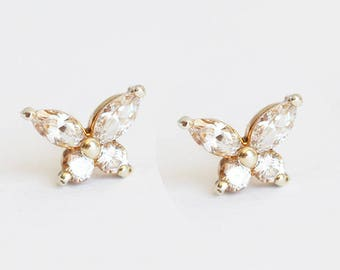 Gold Diamond Studs, Gold Butterfly Earrings, Marquise Diamond Earrings, Diamond Cluster Earrings, Butterfly Stud Earrings, Diamond Earrings