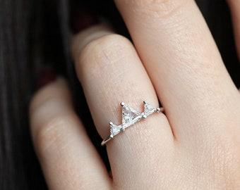 Unique Woman Ring, Unique Engagement Ring, Unique Wedding Ring, Trillion Diamond Ring, Triangle Engagement Ring, Trillion Engagement Ring