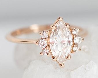 One Carat Rose Gold Diamond Ring with Marquise cut diamond in 18k rose gold, Minimalvs Jewelry