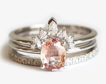 Peach Sapphire Ring Set, Three Ring Set, Oval Sapphire Ring, Diamond Crown Ring, Eternity Diamond Band, Diamond Wedding Ring Set, MinimalVS