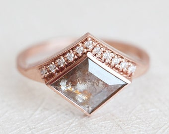 Rose Gold Diamond Ring, Rose Cut Diamond Ring, Champagne Diamond Ring, Engagement Ring, Kite Diamond Ring, Rose Gold Diamond Ring, 14k Gold