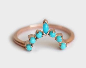 Turquoise wedding Ring, Turquoise Wedding Band, Turquoise Curved Ring, Rose Gold turquoise ring