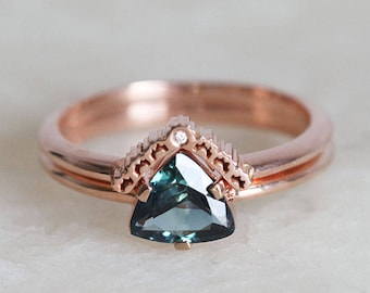 Teal Sapphire Ring, Trillion Sapphire Ring, Rose Gold Sapphire Ring, Blue Green Sapphire Ring with Lace Wedding Band, Lace Wedding Ring