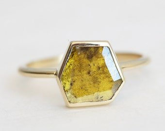 Diamond Slice Ring, Yellow Diamond Ring, Unique Diamond Ring, Solitaire Diamond Ring, Simple Diamond Ring, One Of A Kind