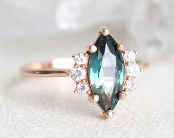 Teal Sapphire Ring, Sapphire Diamond ring, Sapphire Engagement Ring, Marquise Engagement Ring, Elegant Engagement Ring, Sapphire Wedding