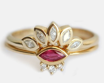 Delicate Ruby Wedding Ring Set, Bridal Set with Marquise Diamond Crown Ring, July Birthstone Ring