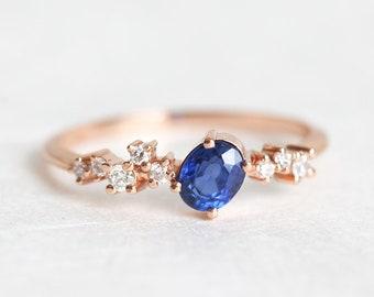 Diamond Ring, Gold Cluster Ring, Engagement Ring, Ring Women, Women ring, Ring For Her, September Birthstone Ring, Blue Sapphire Ring