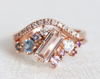Engagement Ring Set, Diamond Ring, Cluster Ring, Wedding Ring, Baguette Ring, Gold Cluster Ring, Rose Gold Ring, Bridal Set, Morganite Ring