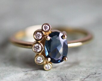 Sapphire Cluster Ring, Rose Cut Sapphire Ring, Blue Sapphire Ring, Blue Sapphire Ring, Blue Engagement Ring, Diamond Sapphire Ring