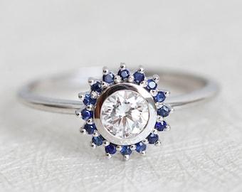 Half Carat Diamond Ring, Diamond and blue Sapphire Ring, Diamond Engagement Ring, White Gold Diamond Ring, Blue Sapphire Ring with Diamond