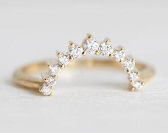 Large Diamond Crown Ring, Curved Diamond Band, Stacking Diamond Ring, Gold Wedding Ring, Gold Wedding Band, Yellow Gold Ring, Rose gold Ring
