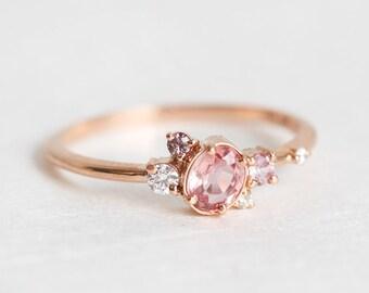 Engagement Ring, Mini cluster Ring, Peach Sapphire Ring, Modern Engagement Ring, Birthstone Ring, Mom Ring, Gift For Her, September Ring