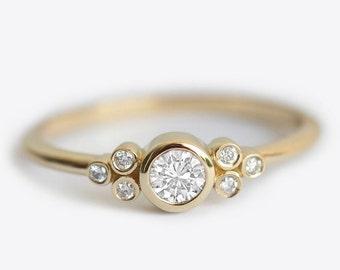 Cluster Diamond Engagement Ring, Seven Diamond Ring, Mini Cluster Ring