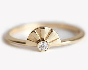 Sun Ring, Gold Sun Ring, Sunrise Ring, Diamond Sun Ring, Diamond Sunrise Ring, Bohemian Diamond Ring, Bohemian Wedding Ring, Sun Rays Ring