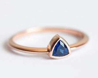 Sapphire Engagement Ring, Trillion Sapphire Ring, Engagement Sapphire Ring, Triangle Sapphire Ring, Sapphire Solitaire Ring, Sapphire Ring