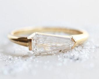 Unique diamond ring, Geometric diamond engagement ring, unique solitaire diamond ring, kite diamond ring