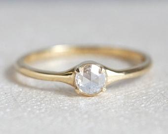 Rose Cut diamond Ring, Diamond ring, Diamond Engagement Ring, Yellow Gold Diamond Ring, Round diamond ring, Solitaire Diamond Ring, 18k gold