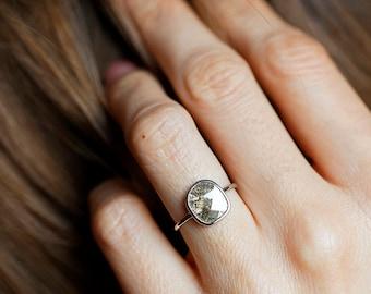 Diamond Slice Ring, Grey Diamond Ring, Gray Diamond Ring, Freeform Diamond Ring, Solitaire Diamond Ring, Simple Diamond Ring, One Of A Kind