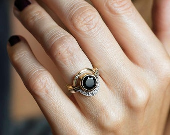 Engagement Ring Set, Diamond Ring, Alternative Wedding, Bridal Set, Unique Ring, Diamond Jewelry, Black Diamond, Matching Ring Set, 14k Gold