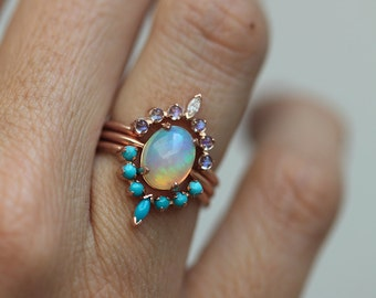 Ocean Engagement Ring Set, Solitaire Fire Opal, Moonstone Ring, Curved Turquoise Band, Unique Wedding Ring Set, Three Ring Set, MinimalVS