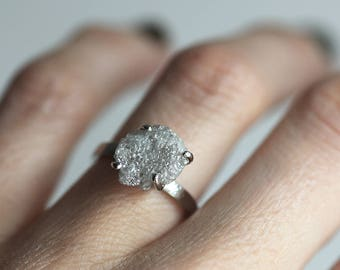 Raw Diamond Ring, Raw Diamond Engagement Ring, Grey Raw Diamond Ring, White Raw Diamond Ring, Unique Raw Diamond Ring, Diamond Engagement