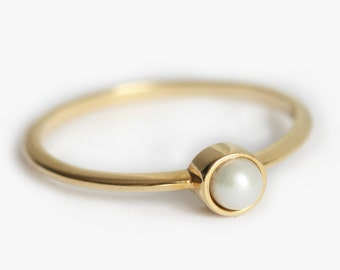 Gold Pearl Ring, Pearl Engagement Ring, Pearl Ring, Pearl Jewellery, Freshwater Pearl Ring, Freshwater Pearl Ring, White Pearl Ring, 14k