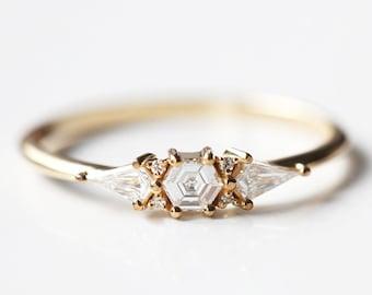 Hexagon diamond cluster ring, Art deco diamond engagement ring, Unique diamond ring with kite diamonds