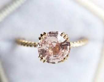 Champagne Peach Sapphire & Diamond Engagement Ring, Large Round Sapphire Ring in 14k or 18k Solid Gold