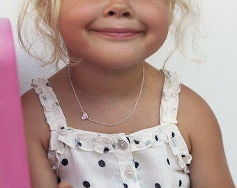 Child Heart Necklace, Sterling Silver, Gold Filled or Solid Gold Tiny Heart with Zirconia or Diamond