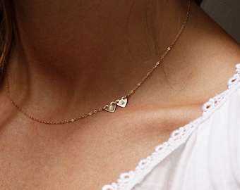 Personalized Necklace, Sideways Initial Necklace, Gold Initial Necklace, Tiny Initial Necklace, Gold Filled Necklace, Solid Gold Necklace