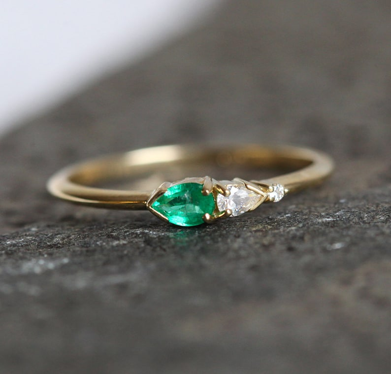 Gold Emerald Ring Pear Emerald Diamod Ring Delicate Diamond image 0