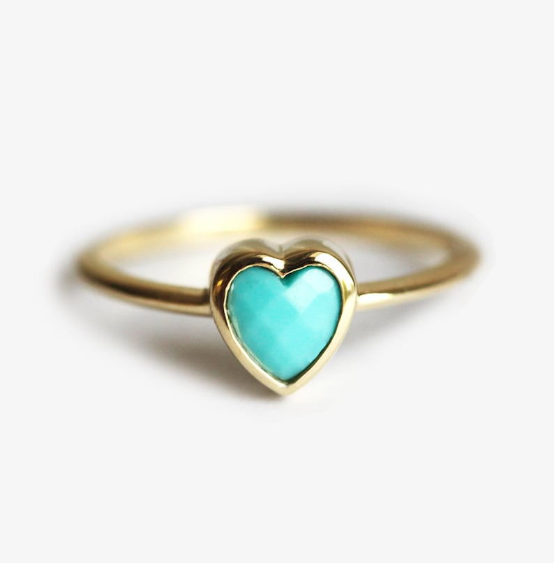 15b1d98507 Turquoise Heart Ring Solid Gold Band with Heart Shaped 4-5mm | Etsy