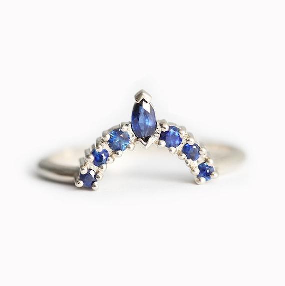 Blauer Saphir Hochzeit Ring Geschwungene Gold Band Mit Blauen Etsy