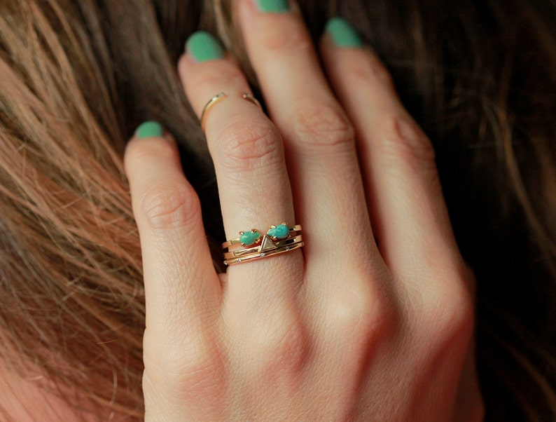 Open gold band Ring with Turquoise 14k December Birthstone Ring Green Turquoise Ring