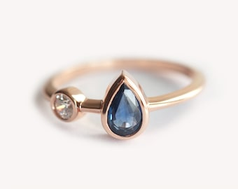 Pear Blue Sapphire and diamond ring, Twin Ring, Unique two Stone Engagement Ring in Rose Gold